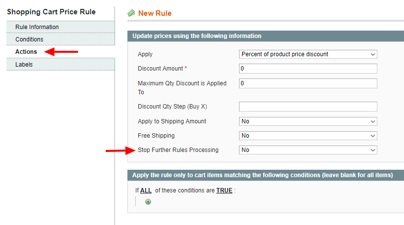 Magento 1 coupon actions