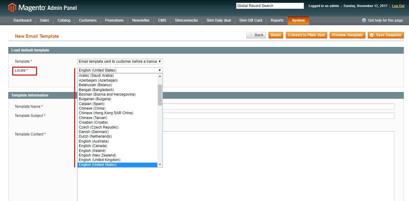 magento email template backend