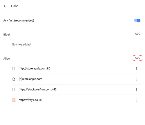 Google Chrome settings Flash add sites