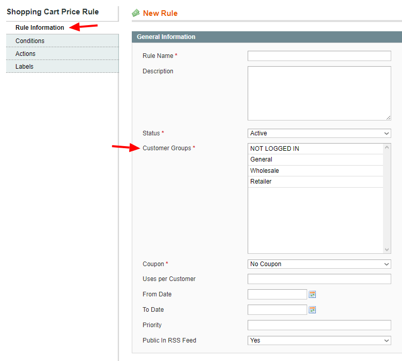 Magento 1 rule information