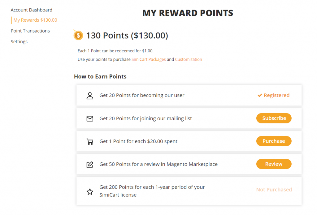 How to earn points - SimiCart Loyalty Program