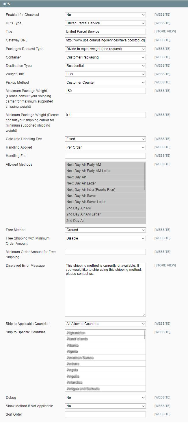 Magento UPS configuration