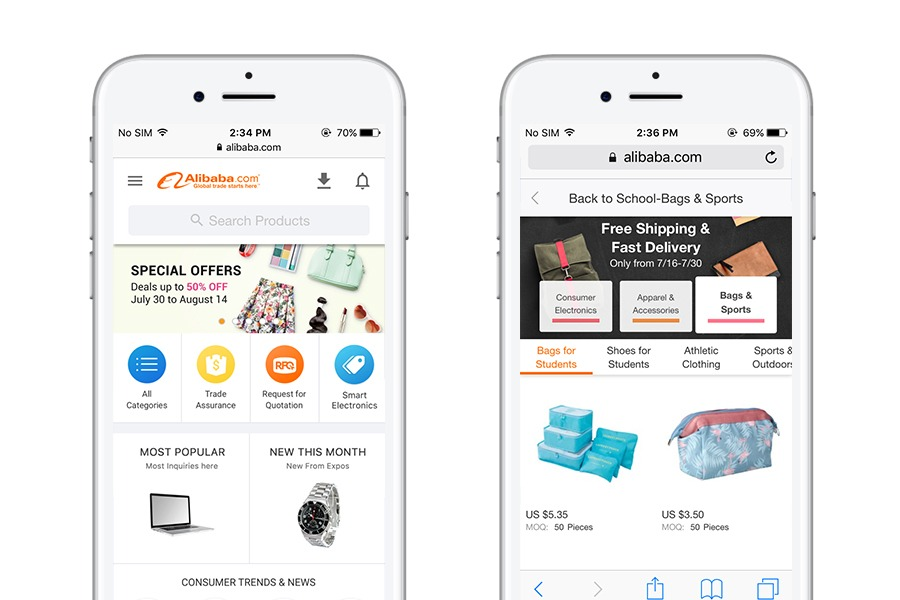 Alibaba - 10 best progressive web apps for ecommerce 2018