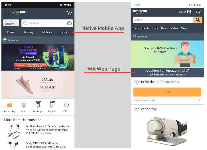 Amazon app vs PWA