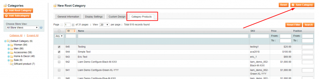 category products magento 1