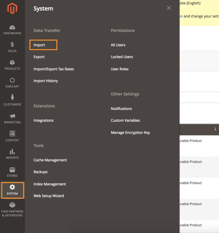 magento data import menu