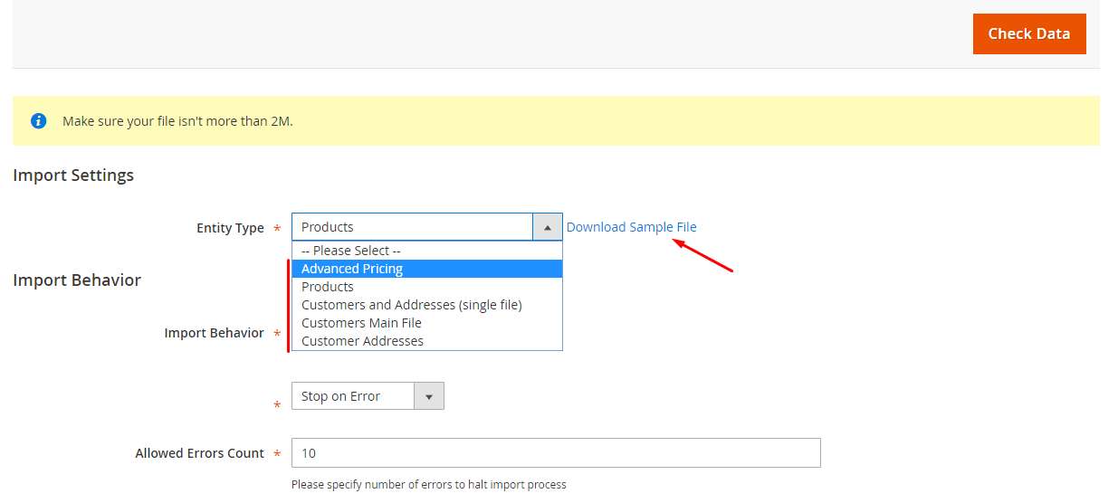 magento download sample file