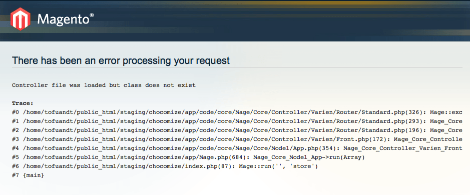 Magento there has been an error processing your request