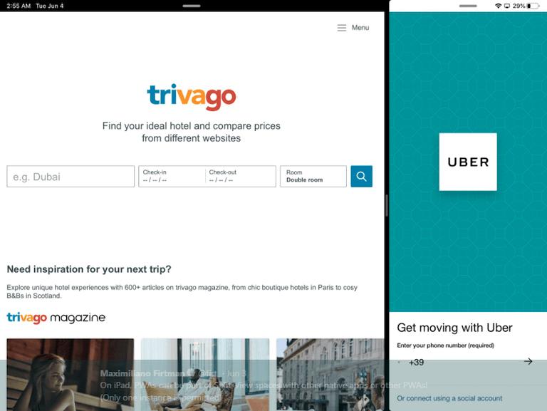 PWA Trivago and PWA Uber split view on ipad