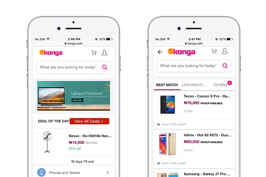 Konga - 10 best progressive web apps for ecommerce 2018