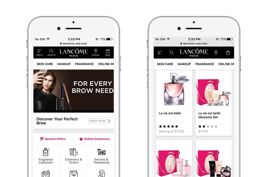 Lancome - 10 best progressive web apps for ecommerce 2018