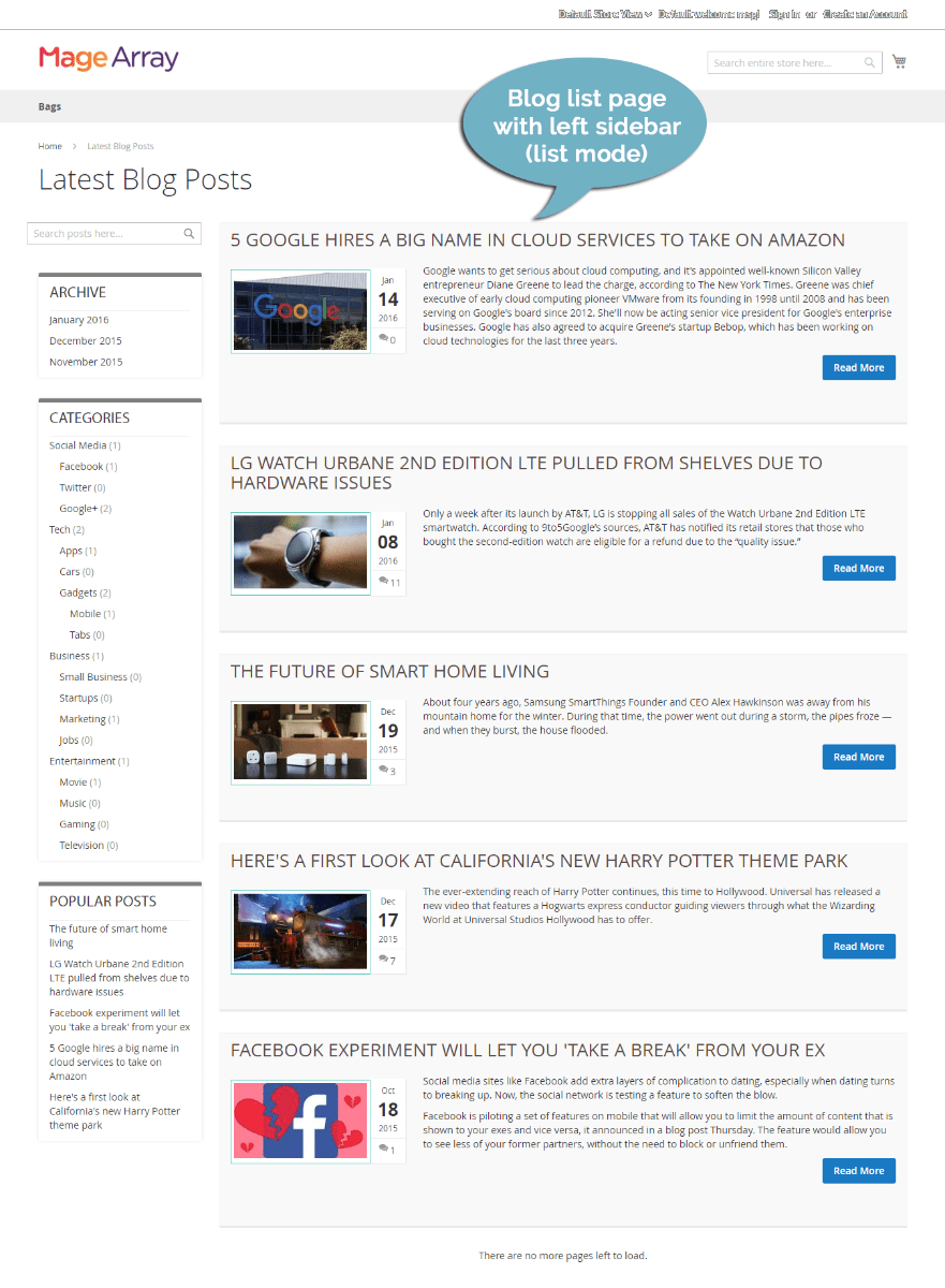 MageArray Blog Extension Demo