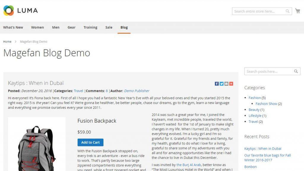 Magefan Blog Extension Demo