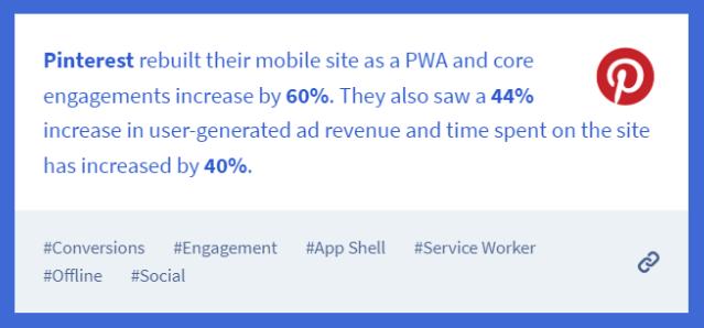 Pinterest PWA statistics