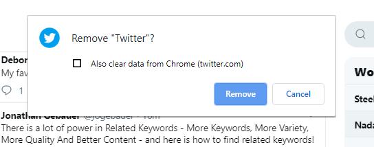 Twitter PWA uninstall pop-up