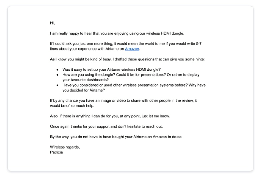 Amazon email feedback