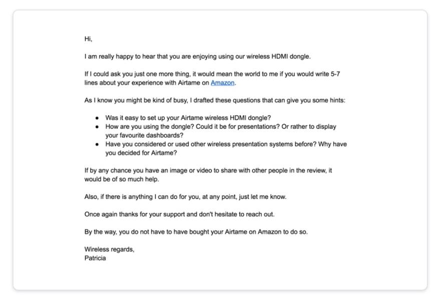 Amazon email feedback