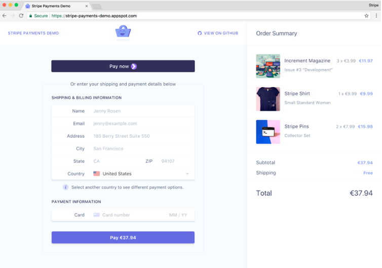 One step checkout of Stripe demo app