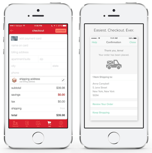 One step checkout of Target app