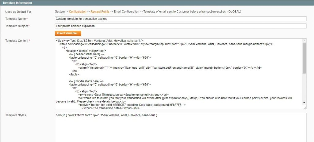 Magento template information