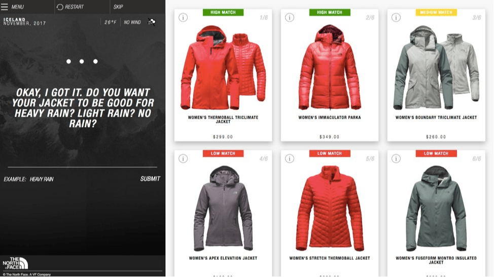 The North Face example of using Artificial Intelligence