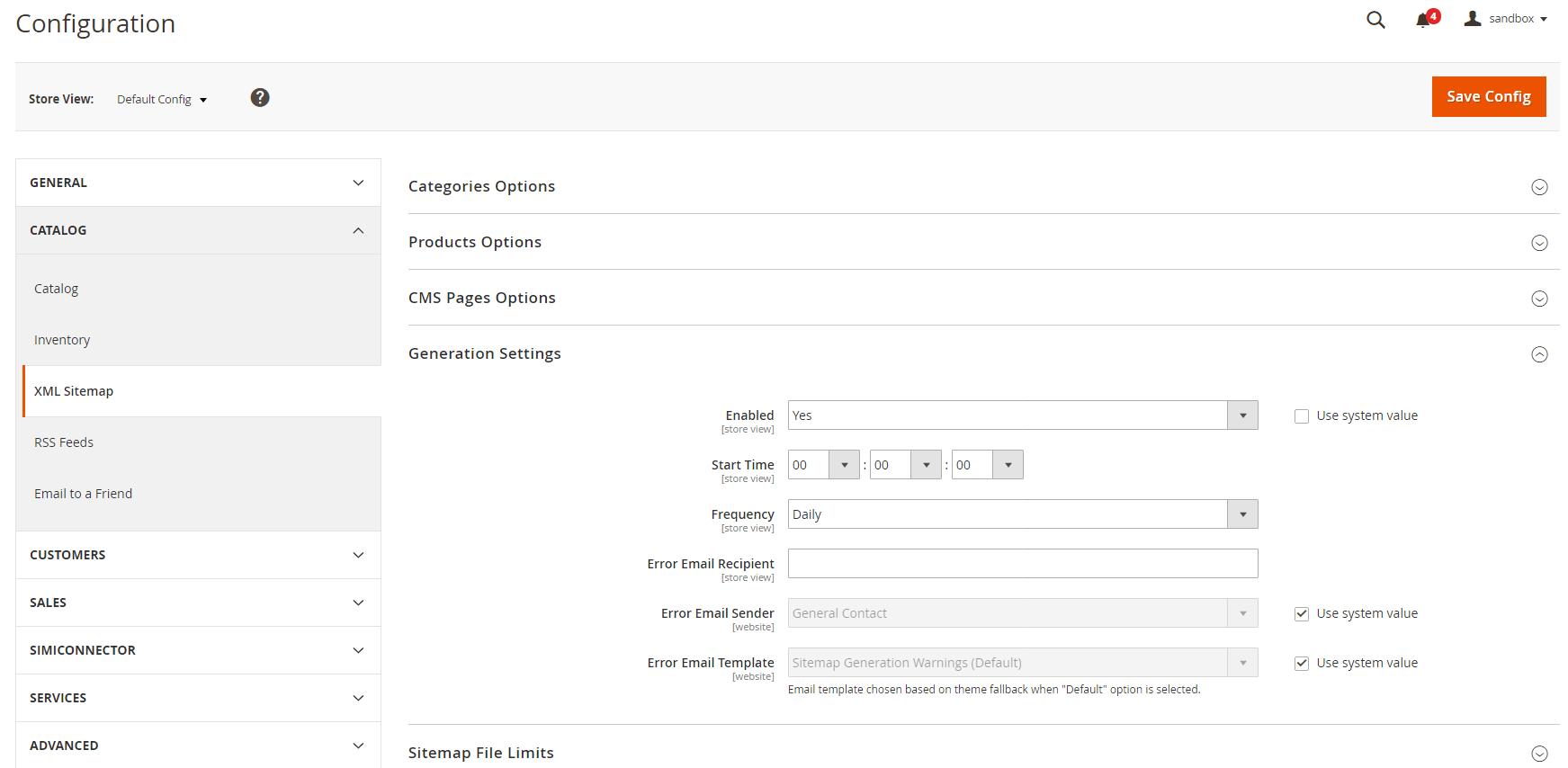 magento 2 sitemap config