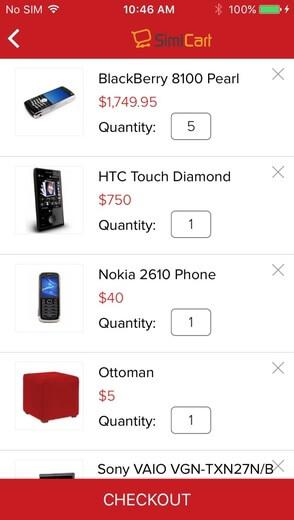 Free mobile app theme - Checkout process