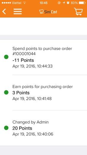 build reward points for magento app