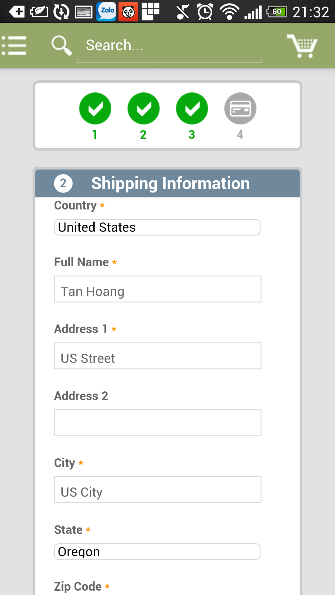 2checkout for Magento App - fill shipping information