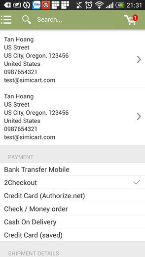 2checkout for Magento app- choose payment method