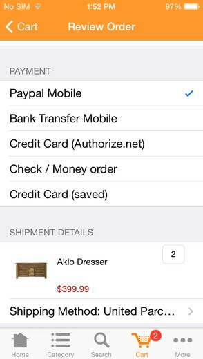 Paypal mobile for your mobile shopping app