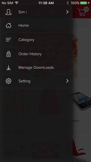 Order tracking feature - left menu