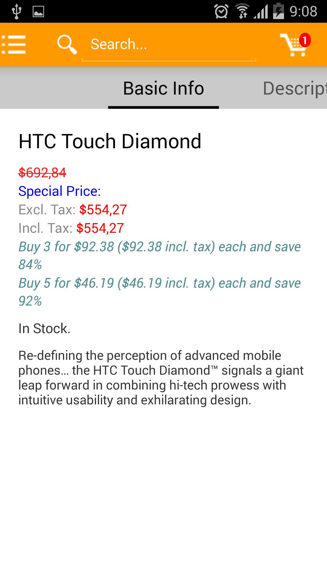 M-commerce - Mobile Shopping App - Magento Mobile App Builder – product detail