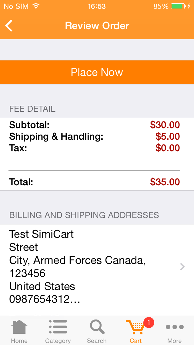 M-commerce - Mobile Shopping App - Magento Mobile App Builder - Review Order